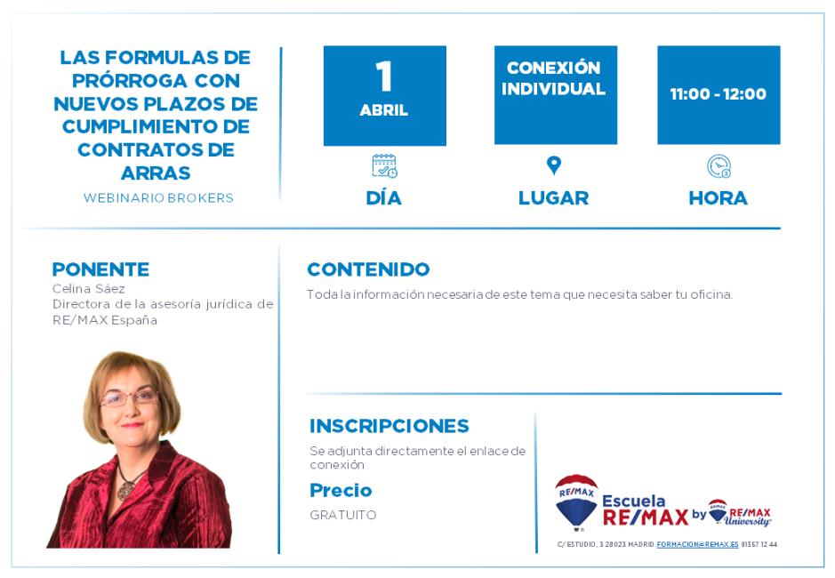 BROKERS - LAS FORMULAS DE PRÓRROGA CON NUEVOS PLAZOS DE CUMPLIMIENTO DE CONTRATOS DE ARRAS - 1 ABRIL - CELINA SAEZ.png