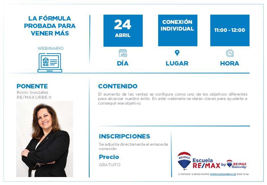 AGENTES - LA FORMULA PROBADA PARA VENDER MÁS - 24 ABRIL - ROCIO GONZALEZ