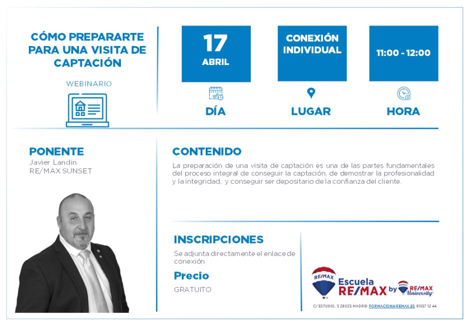 CÓMO PREPARARTE PARA UNA VISITA DE CAPTACIÓN - 17 ABRIL - JAVIER LANDIN