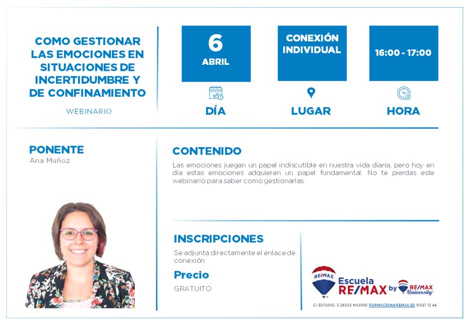 COMO GESTIONAR LAS EMOCIONES EN SITUACIONES DE INCERTIDUMBRE Y DE CONFINAMIENTO - 6 ABRIL - ANA MUÑOZ