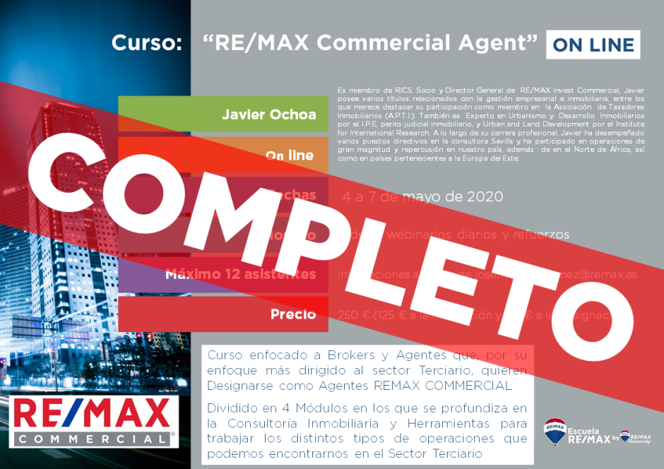 FLYER Curso Remax Commercial Agent (4 a 7 de Mayo) ON LINE