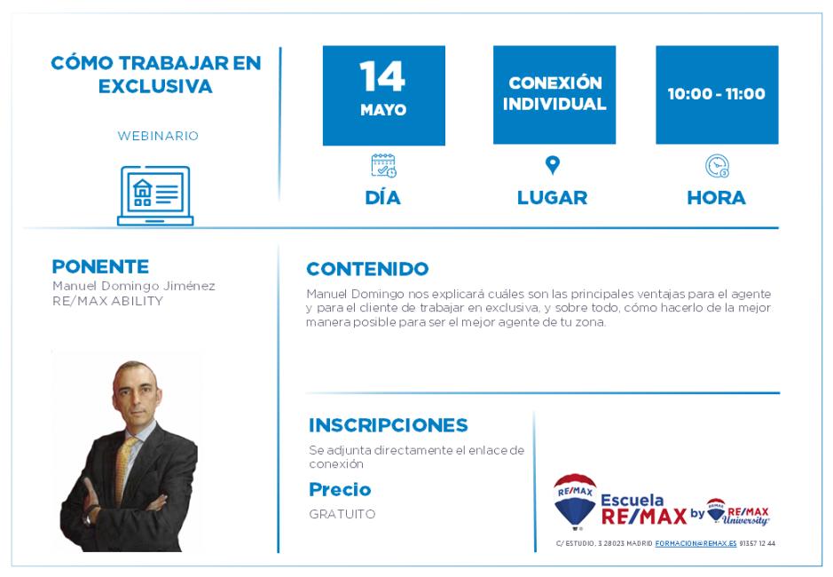 AGENTES - COMO TRABAJAR EN EXCLUSIVA - MANUEL DOMINGO JIMENEZ - 14 MAYO