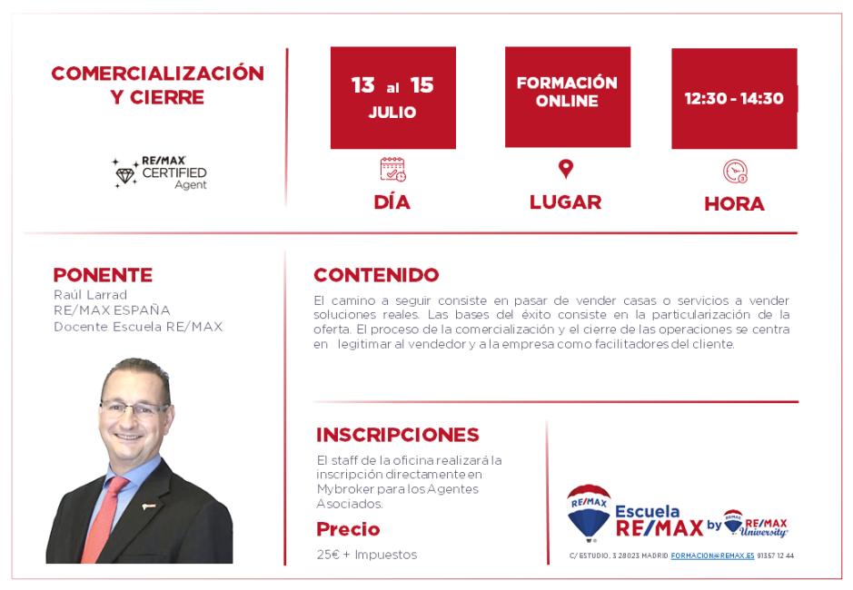 COMERCIALIZACIÓN Y CIERRE - RAUL LARRAD - 13 AL 15 JULIO 2020