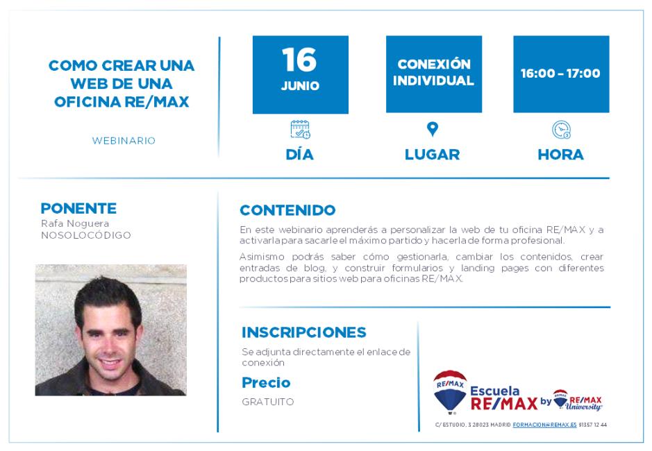 COMO CREAR UNA WEB DE UNA OFICINA REMAX - RAFA NOGUERA - 16 JUNIO