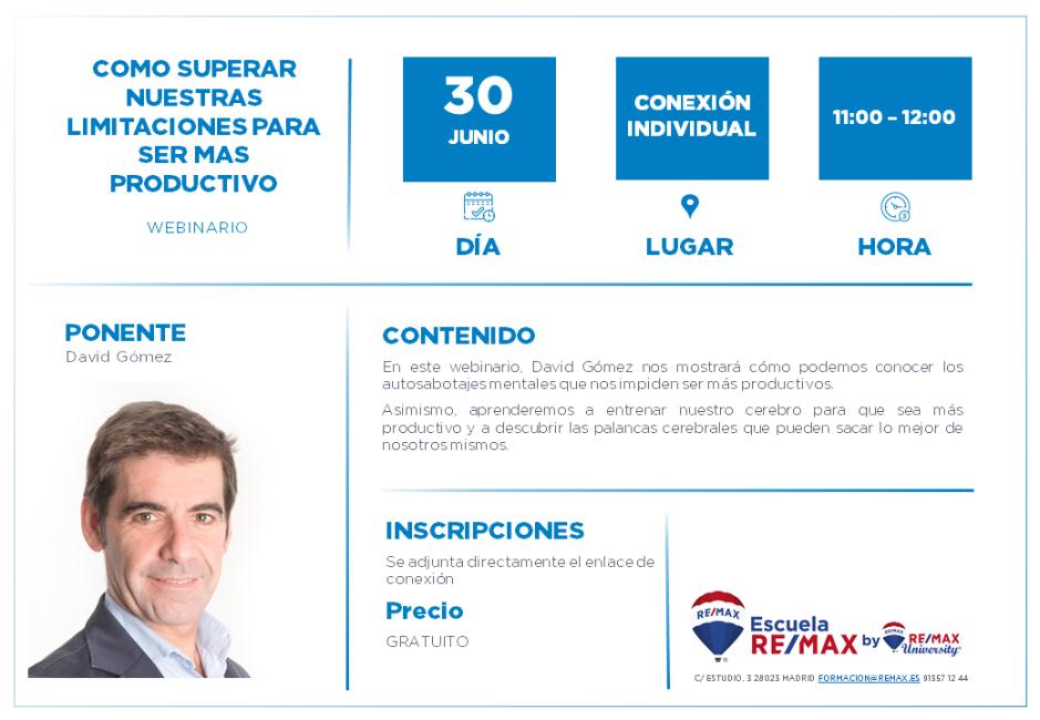 COMO SUPERAR NUESTRAS LIMITACIONES PARA SER MAS PRODUCTIVO - DAVID GOMEZ 30 JUNIO