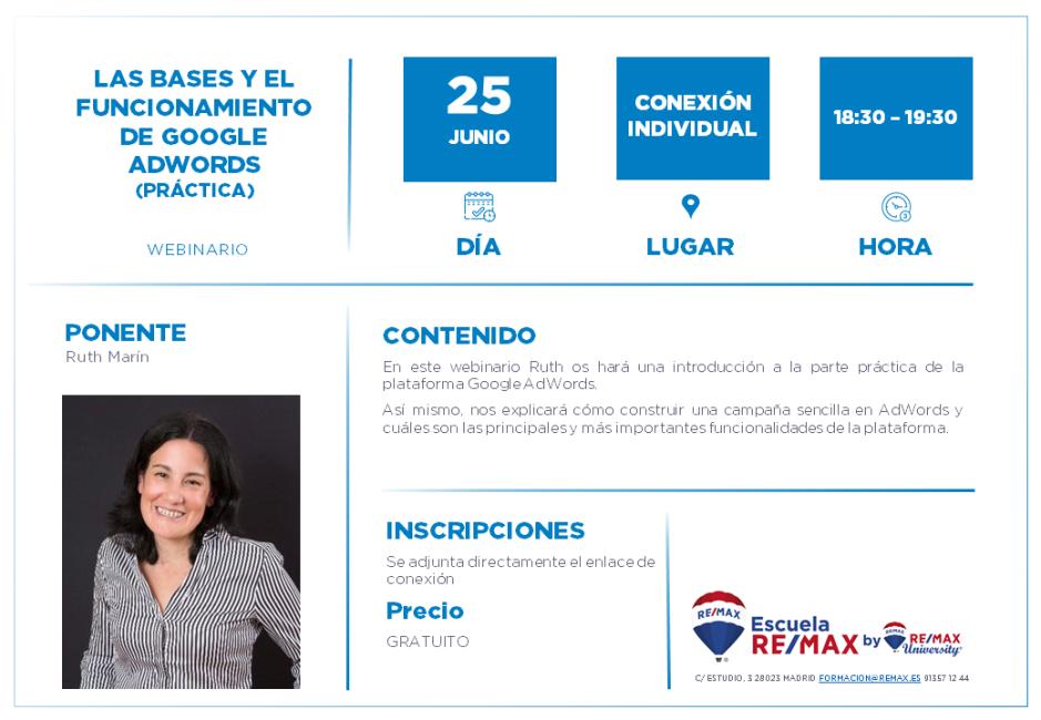LAS BASES Y EL FUNCIONAMIENTO DE GOOGLE ADWORDS práctica - RUTH MARIN - 25 JUNIO