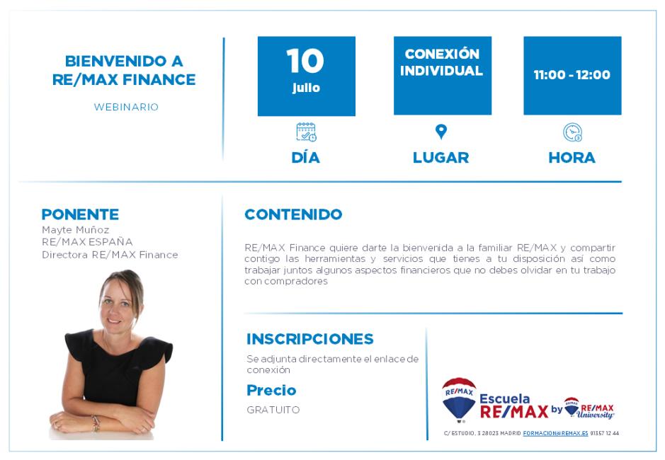 BIENVENIDO A REMAX FINANCE - MAYTE MUÑOZ - 10 JULIO