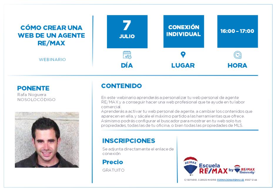 COMO CREAR UNA WEB DE UN AGENTE REMAX - RAFA NOGUERA - 7 JULIO