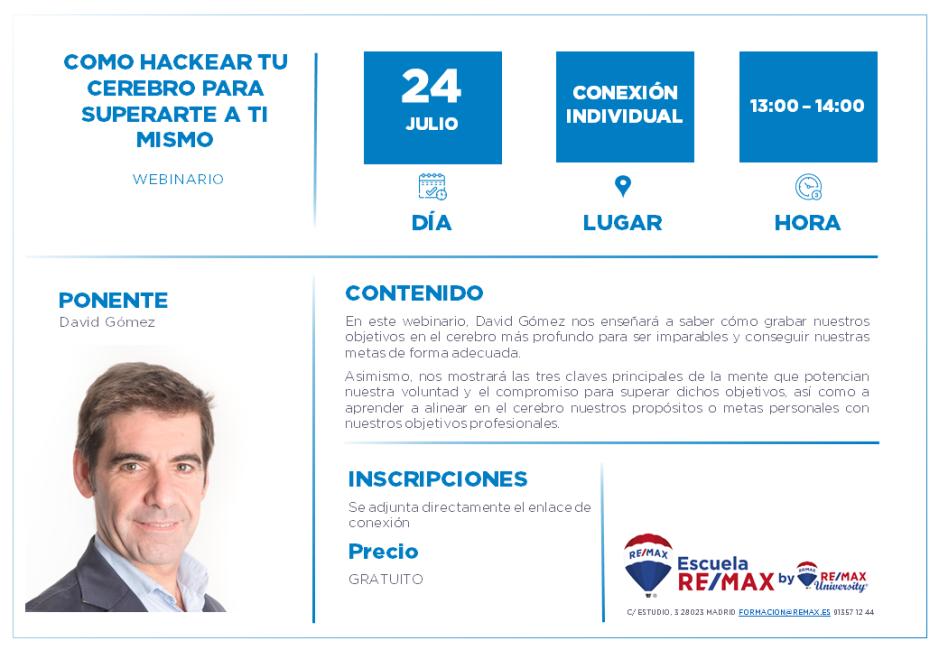 COMO HACKEAR TU CEREBRO PARA SUPERARTE A TI MISMO - DAVID GOMEZ - 24 JULIO