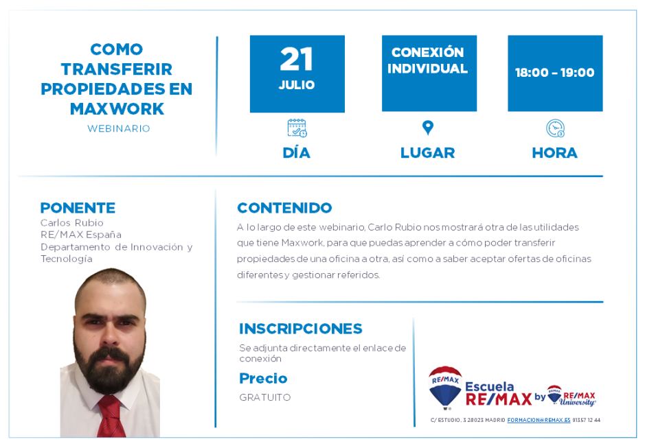 COMO TRANSFERIR PROPIEDADES EN MAXWORK - CARLOS RUBIO - 21 JULIO
