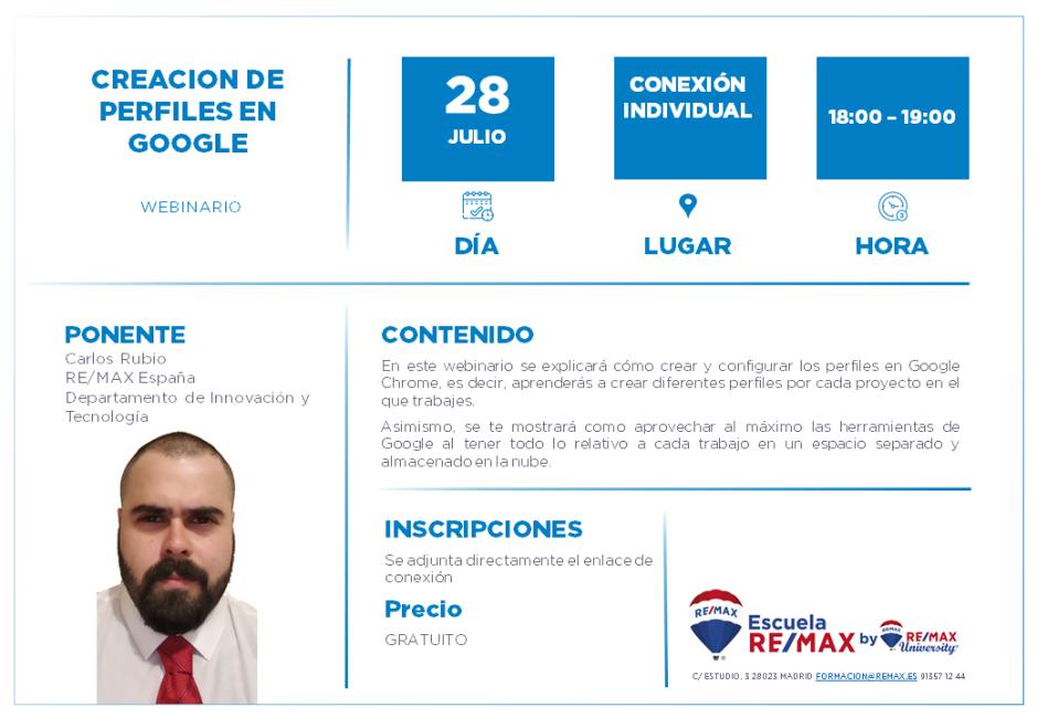 CREACION DE PERFILES EN GOOGLE - CARLOS RUBIO - 28 JULIO