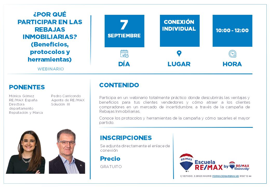 POR QUE PARTICIPAR EN LAS REBAJAS INMOBILIARIAS - 7 SEPTIEMBRE - MONICA GOMEZ